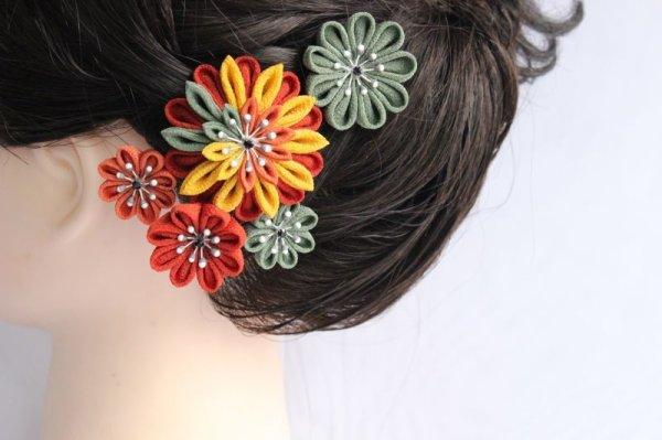 画像1: 大人の髪飾 つまみ細工 小紋 入学式 結婚式に (1)