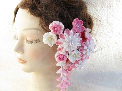 画像2: 成人式・結婚式の髪飾り ピンクのグラデーションでとっても豪華