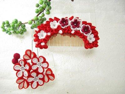 画像2: 花櫛 赤