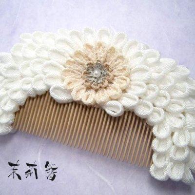 画像1: 花櫛 白