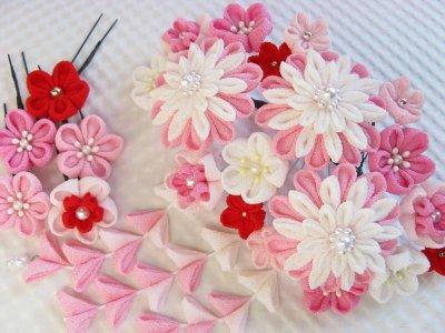 画像1: 成人式・結婚式の髪飾り ピンクのグラデーションでとっても豪華